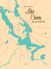 Lake Chetek, WI Lake Map Wall Mural