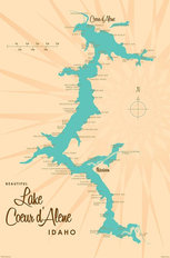 Lake Coeur d'Alene, ID Lake Map Mural Wallpaper