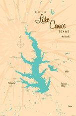 Lake Conroe, TX Lake Map Mural Wallpaper