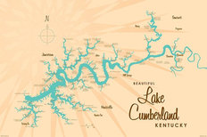 Lake Cumberland, KY Lake Map Mural Wallpaper
