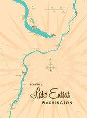 Lake Entiat, WA Lake Map Wall Mural