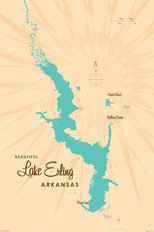 Lake Erling, AR Lake Map Wallpaper Mural