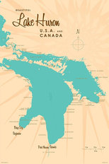 Lake Huron, MI Lake Map Mural Wallpaper