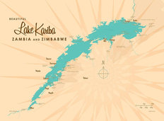 Lake Kariba Lake Map Wall Mural