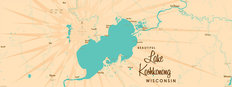 Lake Koshkonong WI Lake Map Wall Mural