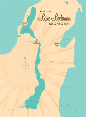 Lake Leelanau, MI Lake Map Wall Mural