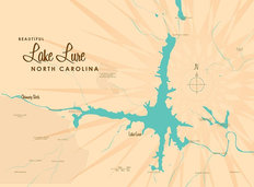 Lake Lure, NC Lake Map Mural Wallpaper