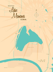 Lake Manawa, IA Lake Map Mural Wallpaper