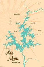 Lake Martin, AL Lake Map Mural Wallpaper