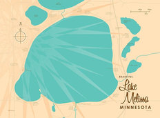 Lake Melissa, MN Lake Map Wallpaper Mural