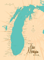 Lake Michigan, MI Lake Map Wall Mural