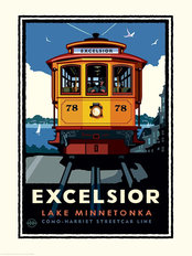 Lake Minnetonka Excelsior Trolley Mural Wallpaper