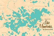 Lake Minnetonka, MN Lake Map Mural Wallpaper