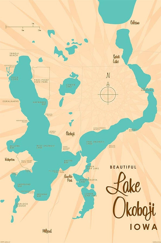 Lake Okoboji, IA Lake Map Wall Mural