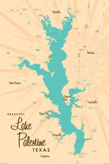 Lake Palestine, TX Lake Map Wallpaper Mural