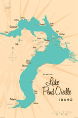 Lake Pend Oreille, ID Lake Map Mural Wallpaper