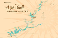 Lake Powell Lake Map Wallpaper Mural