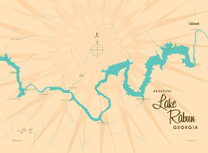 Lake Rabun, GA Lake Map Wallpaper Mural