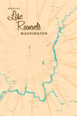 Lake Roosevelt, WA Lake Map Mural Wallpaper