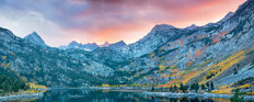 Lake Sabrina At Sunset With Fall Colored Aspens Wall Mural