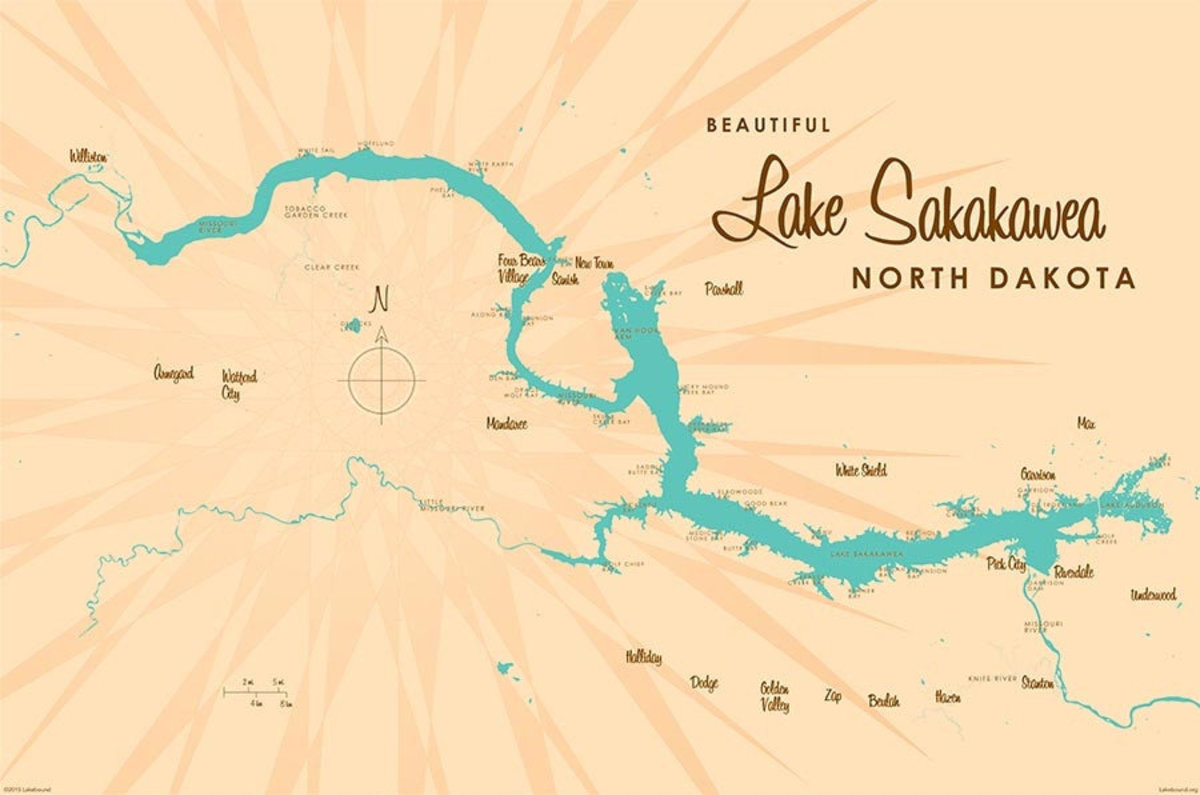 Lake Sakakawea, ND Lake Map Mural Wallpaper