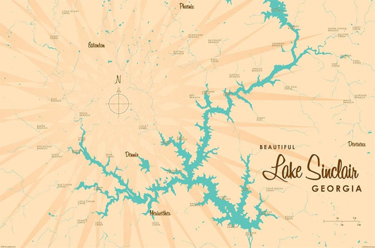 Lake Sinclair, GA Lake Map Wallpaper Mural