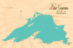 Lake Superior, MI Lake Map Wall Mural