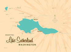 Lake Sutherland, WA Lake Map Mural Wallpaper