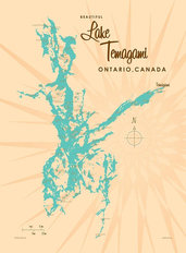 Lake Temagami Lake Map Wall Mural