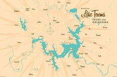 Lake Texoma Lake Map Wallpaper Mural