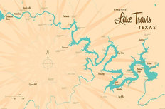 Lake Travis, TX Lake Map Wallpaper Mural