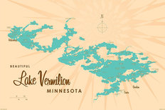 Lake Vermilion, MN Lake Map Wall Mural