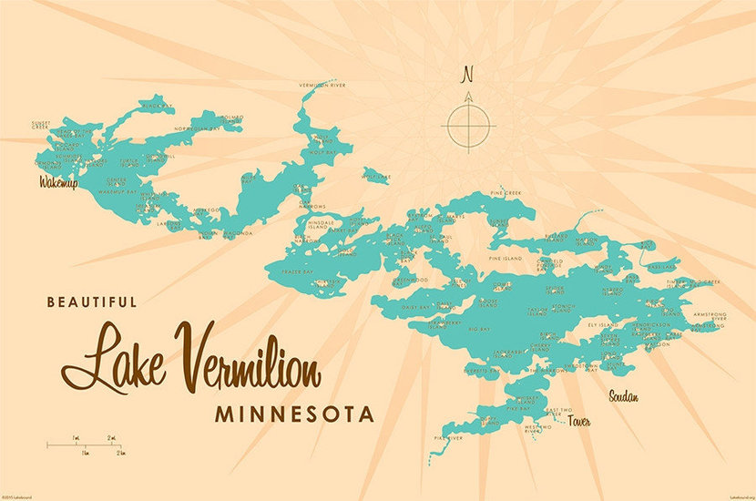 retro style map of lake vermillion in minnesota