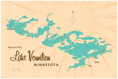 Lake Vermillion, MN Lake Map Mural Wallpaper