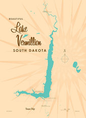 Lake Vermillion, SD Lake Map Wallpaper Mural