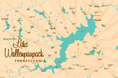 Lake Wallenpaupack PA Lake Map Wall Mural