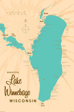Lake Winnebago WI Lake Map Wall Mural