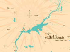 Lake Wisconsin, WI Lake Map Wall Mural