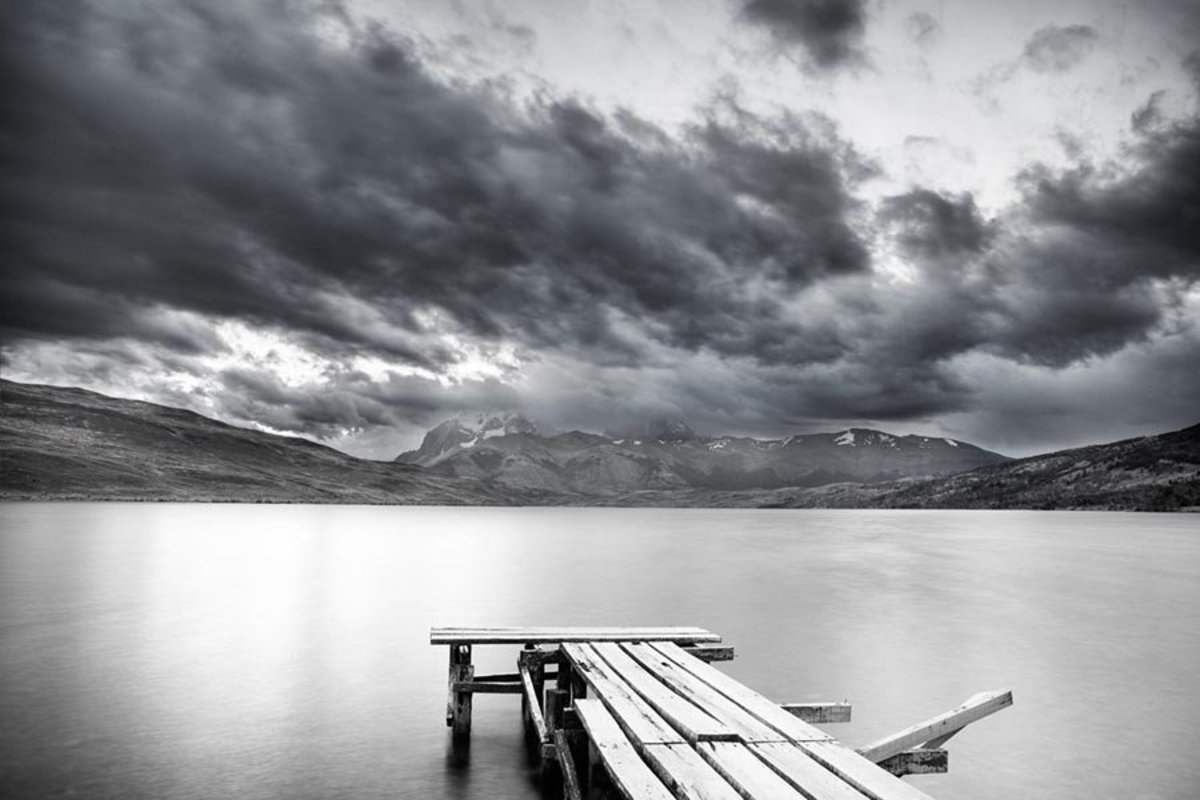 Lake with Dock and Mountains Wall Mural