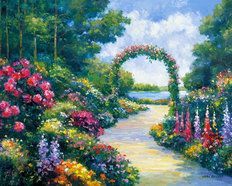 Lakeside Arbor Mural Wallpaper