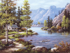 Lakeside Lodge Wall Mural