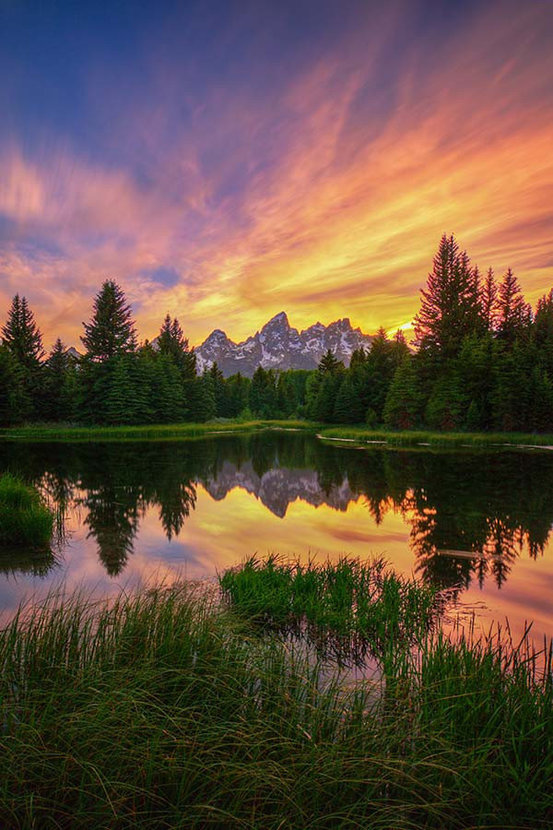 Last Rays Over The Grand Tetons Wall Mural