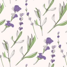 Lavender Flowers Pattern Wallpaper