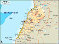 Lebanon Map Mural Wallpaper