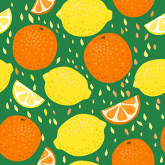Lemons and Oranges Pattern Wallpaper