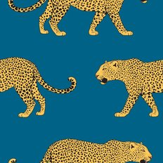 Leopards On Blue Wallpaper