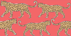 Leopards On Coral Background Mural Wallpaper