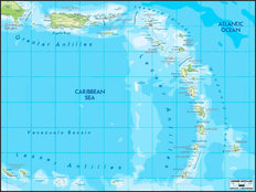 Lesser Antilles Map Mural Wallpaper