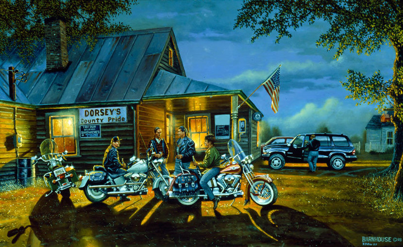 Let the good times roll wallpaper painting by dave barnhouse with harley davidson motorcycles