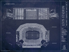 Levis Stadium Blueprint Mural Wallpaper